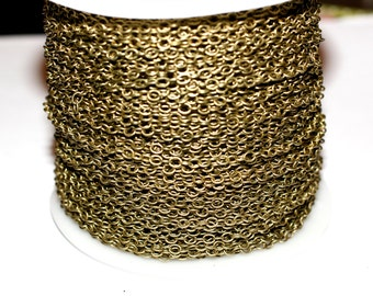 15ft Antique Brass Chain Soldered Link Chain-Round Cable Chain-4x3mm