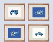 ON SALE Police Transportation Art Print - Car, Helicopter, Towing Truck - Blue, Creamy / Milky White - Set of 4 - 10X8  - No. P060-2-S