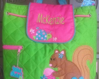 Backpack Quilted fabric Squirrel Stephen Joseph includes personalization