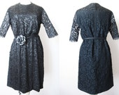 1950's  Black dress beaded lace