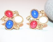 Vintage Sarah Coventry Earrings, Red White Blue Lucite Clip Ons, Designer Vintage, July 4th, Antique Alchemy