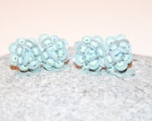 Antique SB Czech Seed Bead and Sequinned Earrings Baby Blue, Antique Alchemy