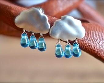Rain Drop Silver Cloud Earrings