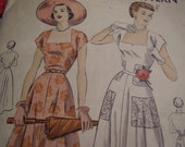 Vintage 1950's Vogue 6761 Dress Bridal Sewing Pattern, Size 14, Bust 32