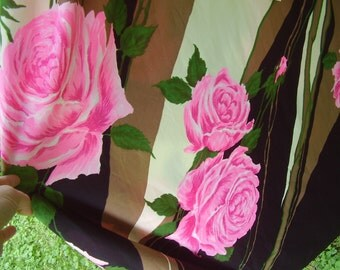 Vintage 1970's Grecian Style Maxi Dress Large Pink Roses Fabric Union Label