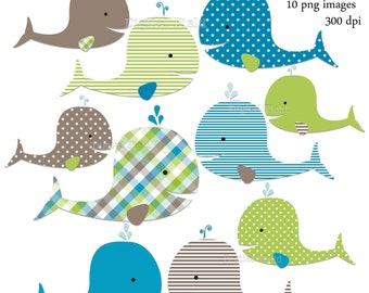 Whale Clip Art Set - lime green, brown and aqua baby boy printable digital clipart