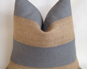 Charcoal Gray Linen/Cotton Fabric and Natural Burlap Horizontal Stripe Pillow Cover