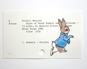 Peter Rabbit Beatrix Potter - Print of painting of Peter Rabbit on library card catalog card for Tales of Peter Rabbit and His Friends