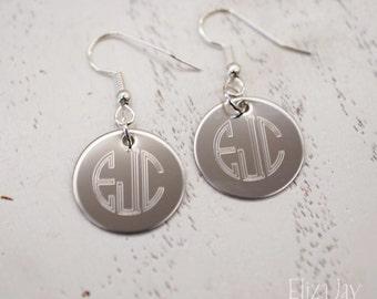 engraved circle monogram earrings in stainless steel