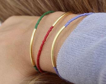 Tube Bead Bracelet - Gold Bar Bracelet - Gold Filled Bracelet - Gold Vermeil Tube Bracelet - Fall Colours Bracelet