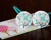 2 Piece Aqua Lovely Tree Fabric Covered Button Hair Ties