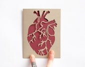 Valentine Card: Laser cut Anatomical Heart Card--Gold and Burgundy--Custom Message