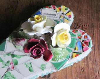 Valentine's Day Mosaic Heart, Mosaic Art, Mosaic Wall Decor, Heart Wall Hanging, Romantic Wall Decor, Boho Decor, Garden Decor, Wedding Gift