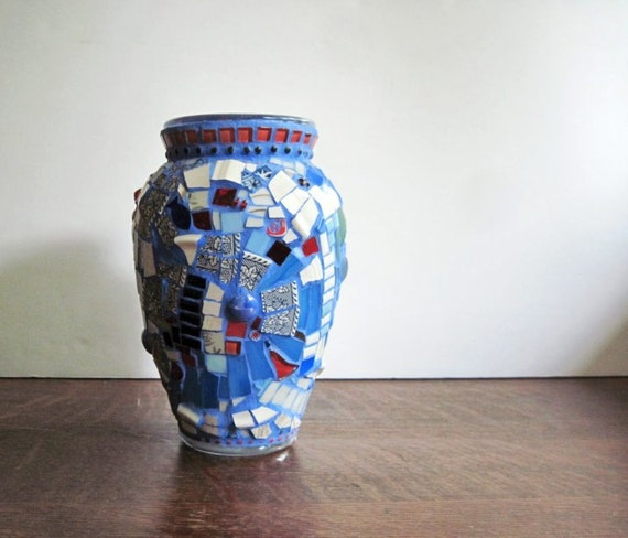 Broken Glass Vase: Broken China Mosaic Flower Vase Blue Mosaic By