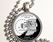 Indiana Art Pendant, Earrings and/or Keychain, USA Quarter Dollar Image, Round Photo Silver and Resin Charm Jewelry
