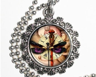 Clock & Dragonflies Art Pendant, Steampunk Resin Charm Necklace
