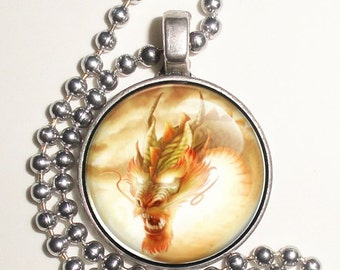 Orange and Green Dragon Altered Art Photo Pendant, Earrings and/or Keychain Round, Silver and Resin Charm Jewelry