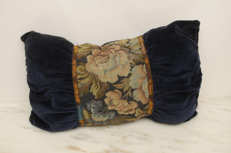 Vintage Victorian Pillows : Antique Victorian Velvet Throw Pillow Handmade Royal Blue Gold