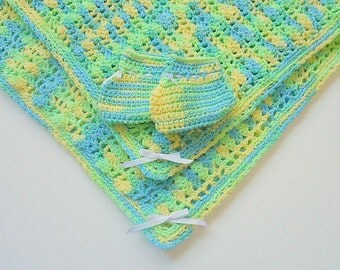 Baby Blanket With  Booties Infant Boy Afghan And Slippers  Blue Green Yellow Newborn  Girl Shower Gift Set Ready To Ship