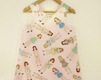 Girl dress - Paperdoll vintage print Aline dress - Baby girl - Toddler girl dress - size 0-3m, 3-6m, 6-12m, 12-18m, 18-24m, 2T, 3T, 4T, 5T