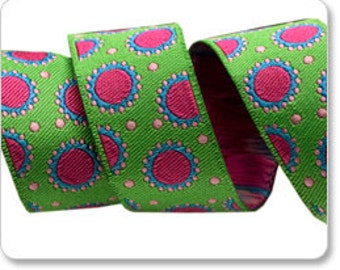 "JANE SASSAMAN 7/8"" ribbon--Hot Pink/Green Dotty--price is per yard"