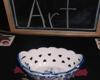 Vintage, beautiful cobalt blue and white soap dish, laced with hearts, scalloped edges, 4x6 inches long