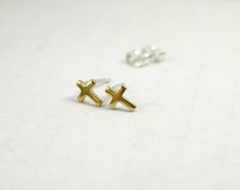 Tiny gold cross stud earrings - sterling silver posts - simple minimalist