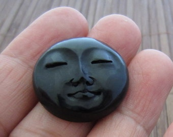 Gorgeous  20mm moon face with closed eyes  in Carved  Buffalo Horn  Cabochon, Jewelry  making supplies B4905