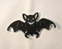 Bat Patch Great for Jeans Jackets Bags or Halloween Embroidered on Recycled Denim