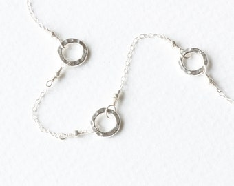 Silver Circles Necklace, Hand Hammered Silver, Little Circles, Modern Minimalist, Dainty Delicate