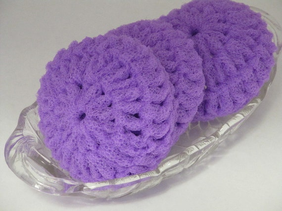 Crocheting Scrubbies With Netting : Dish Scrubbies Crocheted of Light Purple Nylon by InsideSandysShop