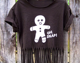 Oh Snap upcycled eco friendly upcycled recycled brown T shirt layering fringed tank top reconstructed fringe tee crop top cut off shirt