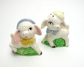Vintage Anthropomorphic Lambs Salt and Pepper Shakers, Pastel, Easter, White Sheep, Anthropomorphic, Lambs, Spring,  Easter Decor, Epsteam