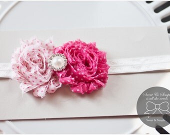 Valentines Day Headband, Valentines, Pink Polka Dot Baby Headband, Baby Girl Headband, Pink Hair Bow Newborn Headband, Toddler Girl Headband
