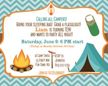 Camping out birthday party Invitation Chevron Teal Orange brown - Campfire tent sleeping bag - Camping sleepover birthday party invitation