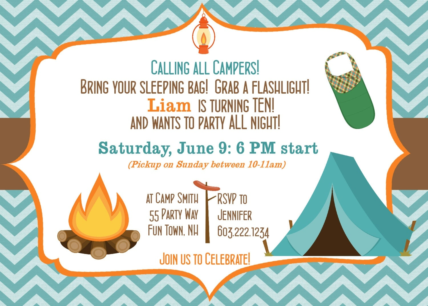 Camping Birthday Party Invitation Printable Camping Out Party – Camping Birthday Invitations