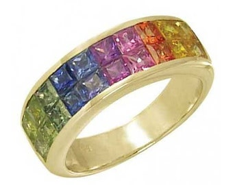 Multicolor Rainbow Sapphire Ring Invisible Set 18K Yellow Gold (3.4ct tw) : sku 1125-18K-YG