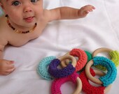 Crochet and wooden teether toy - waldorf inspired infant toy