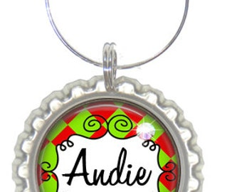 Set of 6 - PERSONALIZED WINE CHARMS - Jester Christmas Design -Place Settings & Wedding Favors