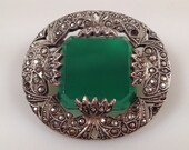 ART DECO Brooch, Sterling Brooch, Marcasite Brooch, Chrysoprase Brooch Pin Green Stone Made in GERMANY 1920s Vintage