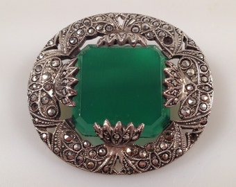 Reduced~ART DECO Sterling Marcasites and Chrysoprase Brooch Pin Green Stone Made in GERMANY 1920s Vintage