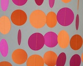 Hot Pink and Orange Paper Garland, Girl's Birthday Decor, Pink / Orange Photo Prop, 10 ft. long