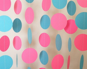 Pink and Blue Circle Paper Garland, Baby Shower, Sprinkle Shower, Nursery Decor, 1st Birthday Party, 10 ft. long