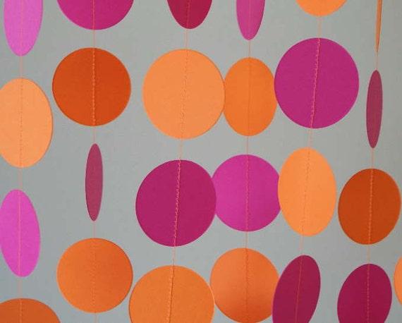 Hot Pink and Orange Paper Garland, Girl's Birthday Decor, Pink / Orange Photo Prop, 10 ft. long