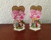Pair of Victorian Die Cut Popup Standing Valentine Cards Vintage