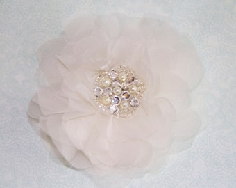 Bridal Hair Flower in Silk Organza with Crystal Pearl Center, 3 Inch Wedding Hair Clip, White or Ivory, Style 2049, Made to Order