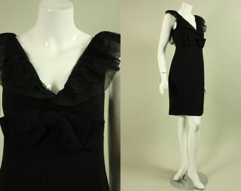 1960's LITTLE BLACK DRESS Crepe & Lace with Center Front Bow Nikki's Hollywood Designer Mid Century Vintage Mad Men Ruffles Ruffled