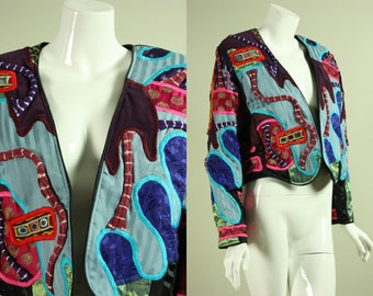 1980's JUDITH ROBERTS JACKET Patchwork Ikat and Tie-Dye with Embroidery Shisha Ethnic Vintage Abstract Designer