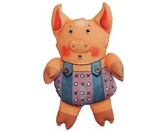 little pig - soft sculpture, art doll.