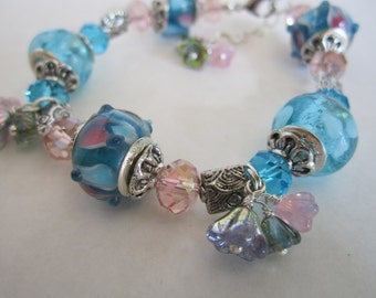 Pink and Blue Murano Bracelet/czech Pressed Flower Bracelet/Shabby Chic Jewelry/Flower Bracelet/Birthday Gift.